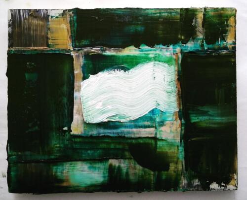 Quarantine: Gardening on a cloudy night, Buchanan Avenue. Oil on wood. (2020)