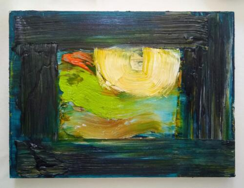Quarantine: From the garden window. Oil on wood. (2020).