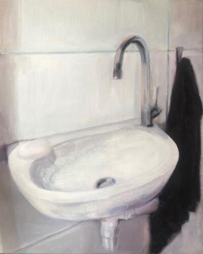 Anna s Sink   oil on canvas paper, 50 x 40cm