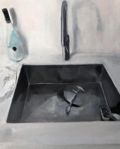 Tristan s Sink 1   oil on canvas paper, 50 x 40cm