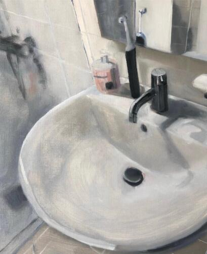 Tristan s Sink 2   oil on canvas paper, 50 x 40cm