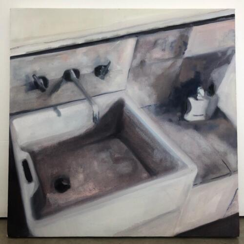 Upstairs Studio Sink  oil on canvas, 61x61 cm
